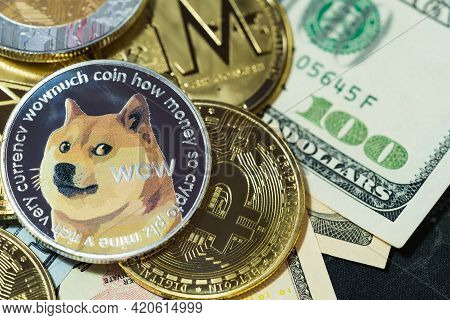 Dogecoin Doge, Bitcoin, Ethereum Eth, Xrp Coin, Included With Cryptocurrency Coin  On Stack 100 Hund