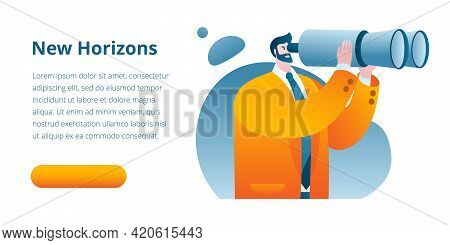 A Businessman In A Business Suit Looks Through Binoculars. Vector Illustration On The Topic Of Searc