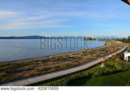 Parksville Bc\'s Boardwalk Along The Oceanside.a Great Place To Go And Relax.