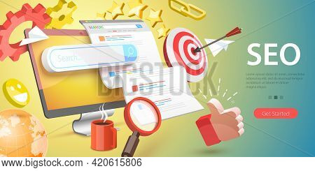 3d Vector Conceptual Illustration Of Seo - Search Engine Optimization, Website Ranking, Keyword Rese