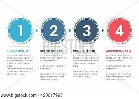 Infographic Template With Numbers In Circles And Text, Four Steps Or Options, Process Chart, Vector