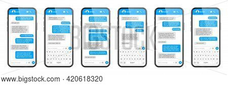 Realistic Smartphone With Messaging App. Sms Text Frame. Messenger Chat Screen With Blue Message Bub