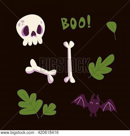 Scary Afterlife Elements Set Clipart. Bones, Skull And Bat. Halloween Party Decor. Vector Illustrati