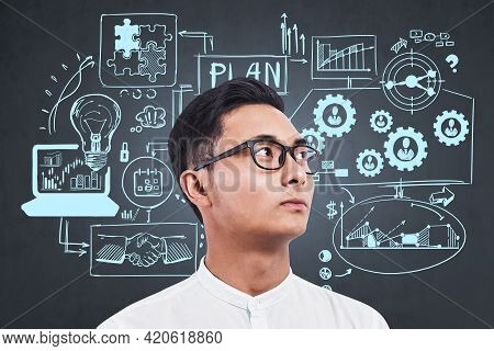 Office Asian Man In White Shirt, Looking Away. Sketch With Business Strategy Plan On Chalkboard, Fin