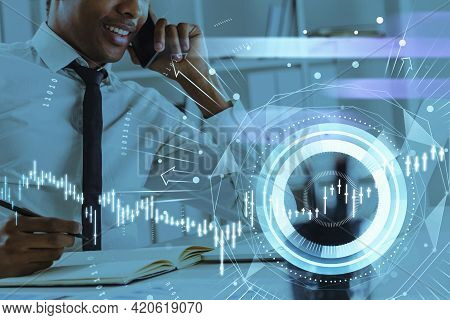 African American Businessman Or Stock Trader Analyzing Stock Graph Chart, Side View Stock Trader Usi