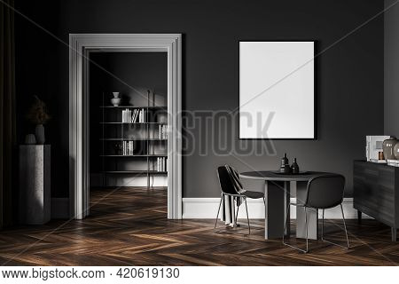 Dark Living Room With Two Grey Chairs And Round Table, Bookshelf In Library On Background, Minimalis