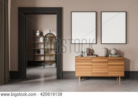 Beige Living Room With Wooden Commode, Bookshelf On Background, Minimalist Decoration With Concrete