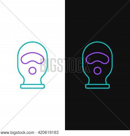 Line Balaclava Icon Isolated On White And Black Background. A Piece Of Clothing For Winter Sports Or