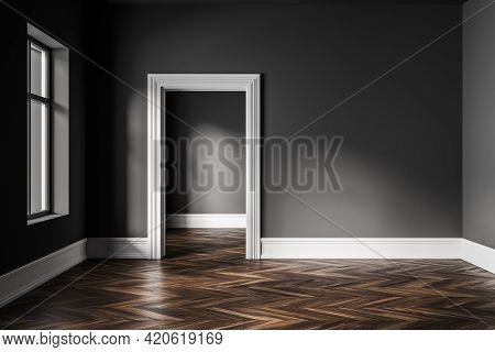 Empty Hall Interior In Modern Apartment With Window, Brown Wooden Floor And Door To The Next Room. M