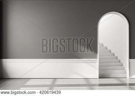 Empty Hall Interior In Apartment With Grey Floor And Staircase With Arch Door. Mockup Blank Copy Spa