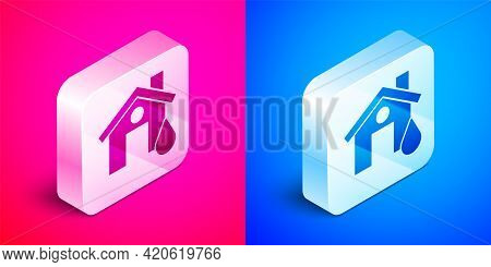 Isometric House Flood Icon Isolated On Pink And Blue Background. Home Flooding Under Water. Insuranc