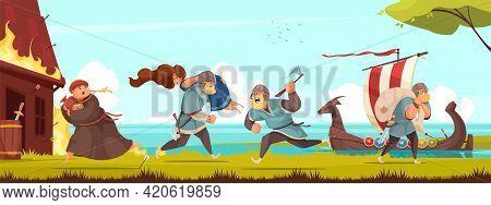Viking History Culture Traditions Horizontal Composition Of Stealing Women Killing Men Robbing Looti
