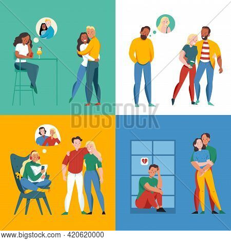 Lonely And Together Concept Icons Set With Relationship Symbols Flat Isolated Vector Illustration