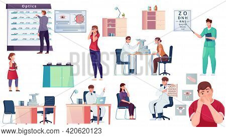 A Set Of Pictures On The Theme Of Ophthalmology Flat Vector Illustration