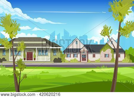 View Of Two Suburban Country Houses With Thin Trees In The Foreground Flat Vector Illustration