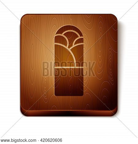 Brown Doner Kebab Icon Isolated On White Background. Shawarma Sign. Street Fast Food Menu. Wooden Sq