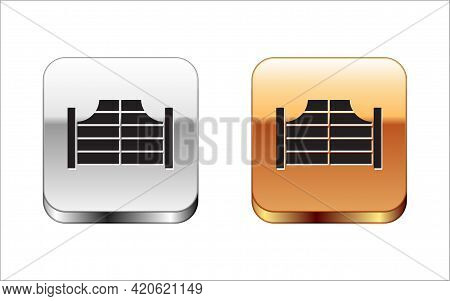 Black Old Western Swinging Saloon Door Icon Isolated On White Background. Silver And Gold Square But