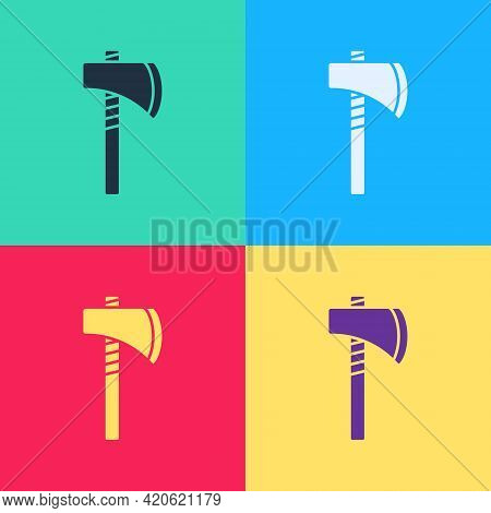 Pop Art Native American Tomahawk Axe Icon Isolated On Color Background. Vector