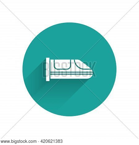 White High-speed Train Icon Isolated With Long Shadow. Railroad Travel And Railway Tourism. Subway O