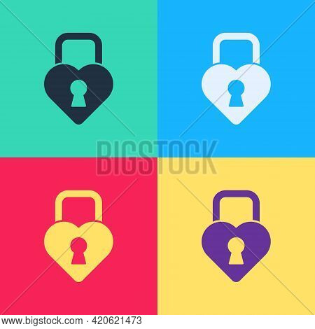 Pop Art Castle In The Shape Of A Heart Icon Isolated On Color Background. Locked Heart. Love Symbol