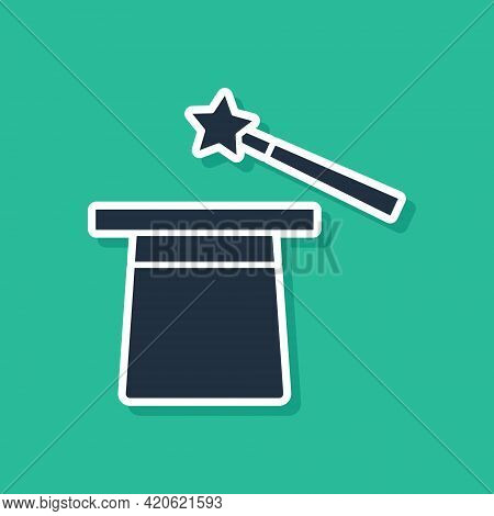 Blue Magic Hat And Wand Icon Isolated On Green Background. Magic Trick. Mystery Entertainment Concep