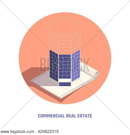 Commercial Real Estate Technical Drawing Architecture Sketching Circular Isometric Composition Of Oc