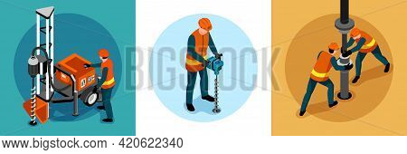Driller Engineer Uniform Machinery Concept 3 Isometric Background Compositions With Handheld Rock Dr