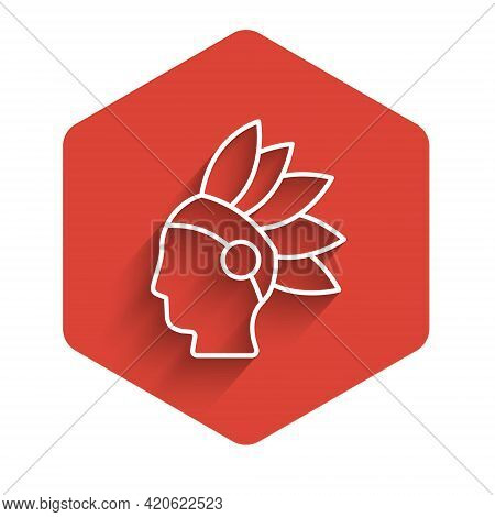 White Line Native American Indian Icon Isolated With Long Shadow. Red Hexagon Button. Vector