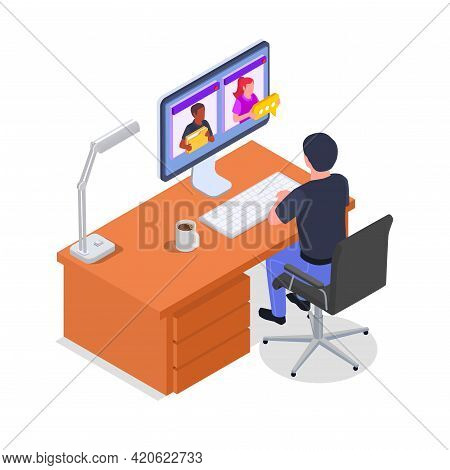 Isometric Concept Of Remote Management With Male Character Working Remotely On Computer On White Bac