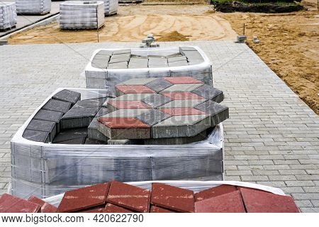 Paving With Paving Stones Of Different Colors, View Of The Construction Site