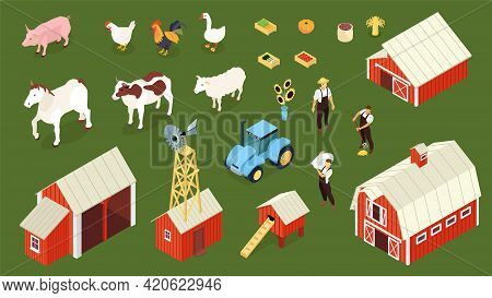 Farm Isometric Set With Farmer Farmhouse Chicken Coop Barn Tractor Livestock Animals Geese Green Bac