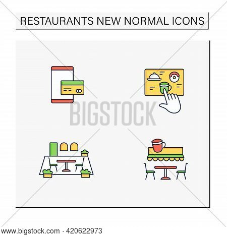 Restaurant New Normal Color Icons Set.digital Payment, Patio Dining, Contactless Ordering, Terrace C