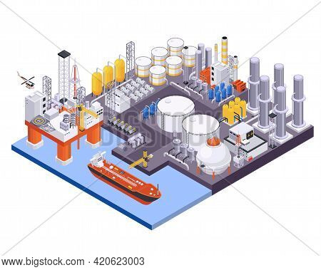 Oil Petroleum Industry Isometric Composition With View Of Maritime Port With Oil Processing Plant An