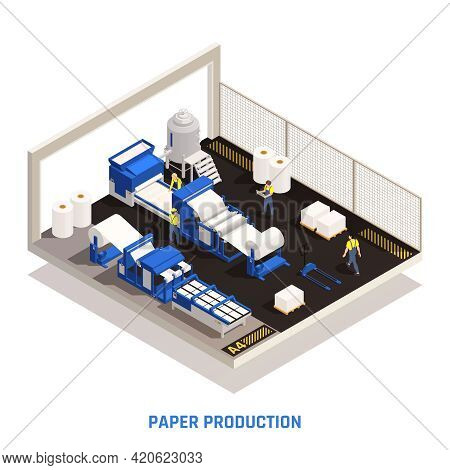 Paper Production Isometric Concept With An Isolated Part Of The Room With The Factory Shop Where Pap