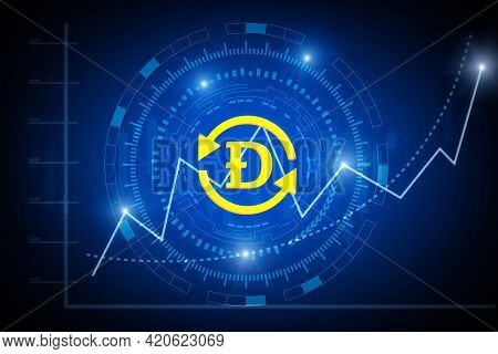 Cryptocurrency. Futuristic Gold Dogecoin Digital Crypto Currency With Virtual Graphic Graph Chart On