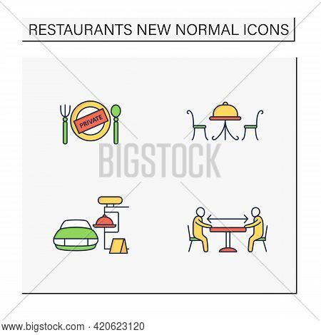 Restaurant New Normal Color Icons Set.private Dining, Outdoor Dining, Social Distancing, Drive In Di
