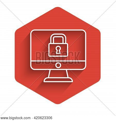 White Line Lock On Computer Monitor Screen Icon Isolated With Long Shadow. Security, Safety, Protect