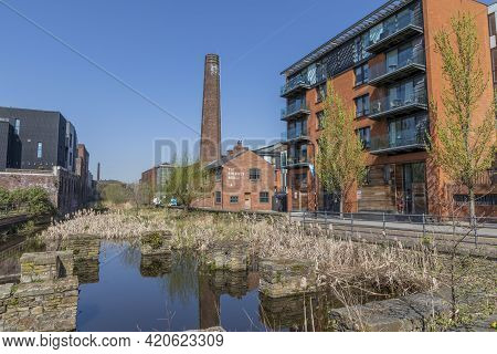Sheffield, South Yorkshire, England - April 19 2021: Kelham Island Sheffield. The Once Industrial Qu