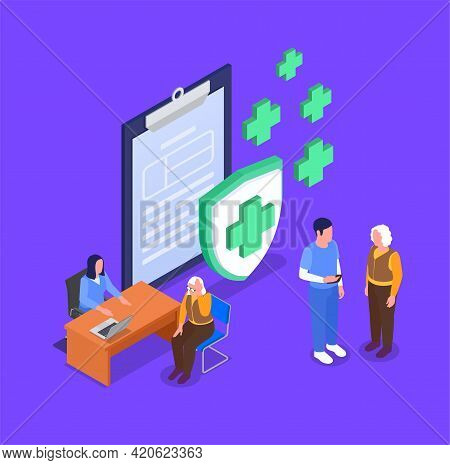 Isometric Set About Health Protection Of Elderly People During Consultation With A Doctor Vector Ill