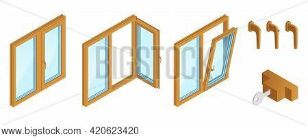 Double Casements Wooden Windows With Accessories Isometric Set On White Background Isolated Vector I