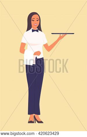 A Beautiful Girl Waiter Stands With A Tray In His Hand. There Is A Smile On My Face. Vector Cartoon