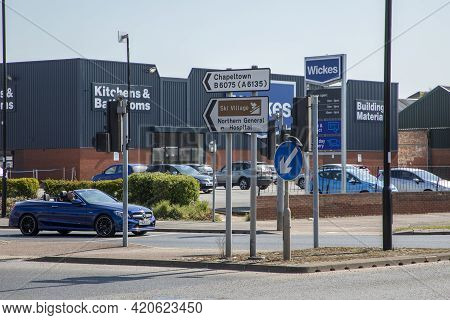 Sheffield, South Yorkshire, England - April 19 2021: Wickes Diy Store On Penistone Road In Sheffield
