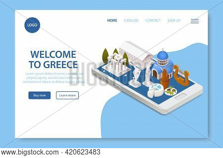 Welcome To Greece Isometric Travel Website Page With Parthenon Landmark Tourists Attractions On Smar