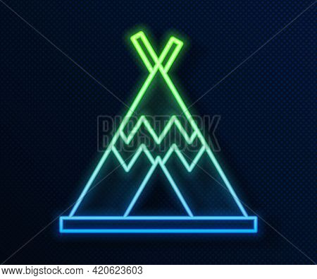 Glowing Neon Line Traditional Indian Teepee Or Wigwam Icon Isolated On Blue Background. Indian Tent.
