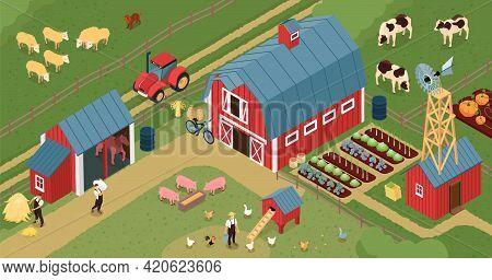 Farm Barnyard Isometric Composition With Chicken Laying House Pigs Farmland Livestock Growing Vegeta