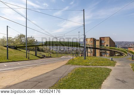 Sheffield, South Yorkshire, England - April 24 2021: Tram Tracks Down A Street In Norfolk Park In Sh