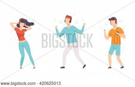 Set Of Happy People Listening To Music Wearing Headphones, People Dancing Using Smartphone And Audio