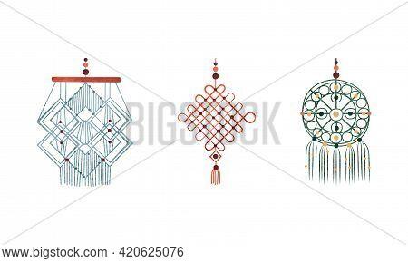 Set Of Macrame Wall Hangings, Boho Style Decor Element Cartoon Vector Illustration