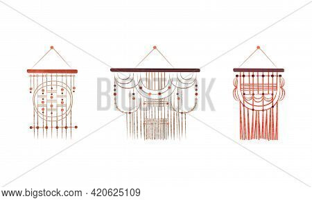 Set Of Macrame Wall Hangings, Boho Style Knotted Decor Element Cartoon Vector Illustration