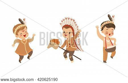 Set Of Preschool Kids Playing American Indians, Boys And Girls Wearing Native Indian Ethnic Costumes